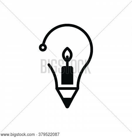 Black Solid Icon For Creative Inventive Enterprising Visionary Prolific Concept Candle Idea