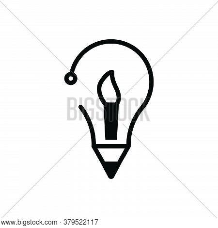 Black Solid Icon For Creative-idea Inventive Enterprising Visionary Prolific Concept Brush Idea