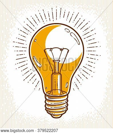 Creative Idea Light Bulb Vector Linear Logo Or Icon, Creativity, Science Invention Or Research Light