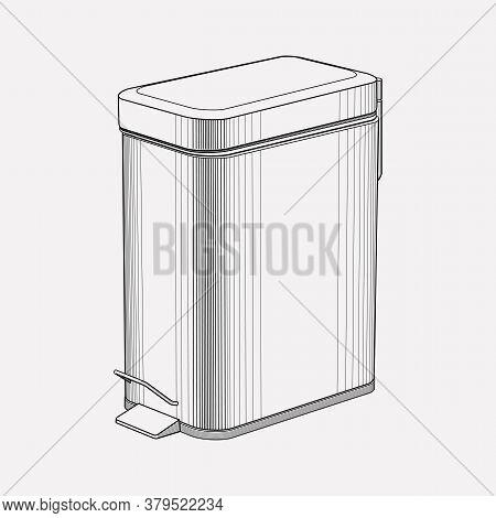 Bathroom Trash Can Icon Line Element. Vector Illustration Of Bathroom Trash Can Icon Line Isolated O