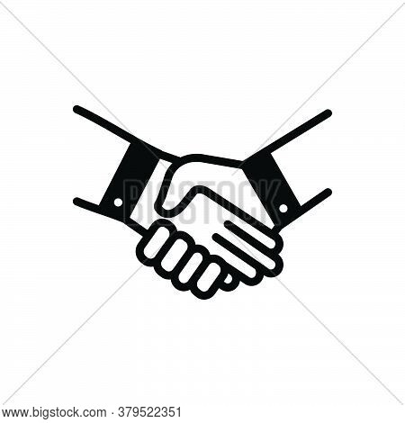 Black Solid Icon For Handshake Deal Pledge Promise Bargain Cooperation Agreement Unity Together