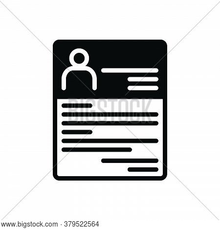 Black Solid Icon For Resume Summary Reoccupy Detail Expansion Elaboration Document Profile Recruitme