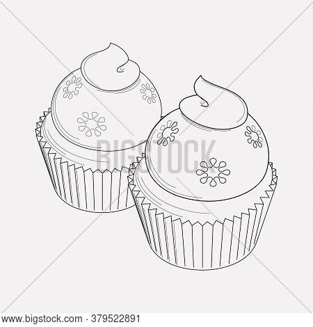 Cupcakes Icon Line Element. Vector Illustration Of Cupcakes Icon Line Isolated On Clean Background F