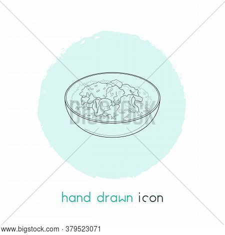 Indian Rice With Curry Icon Line Element. Vector Illustration Of Indian Rice With Curry Icon Line Is