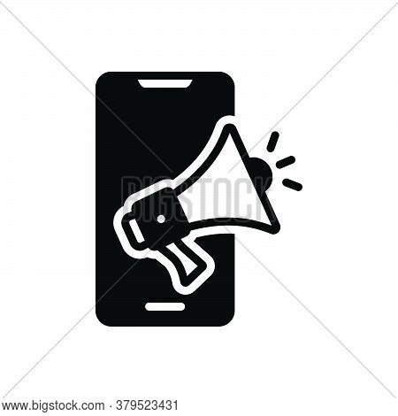 Black Solid Icon For Smartphone-ad Smartphone Ad Megaphone Technology Advertisement Device Sound Spe