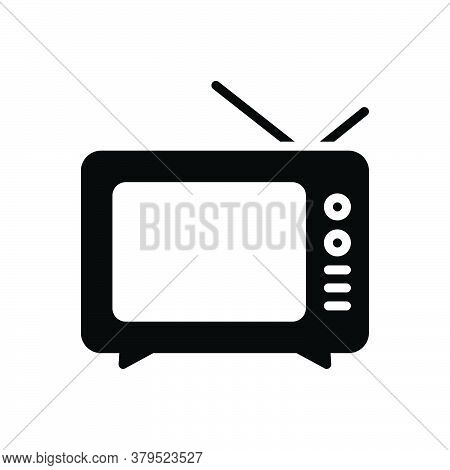 Black Solid Icon For Vintage-television Vintage Television Classic Old Antenna Antique Broadcast Mul