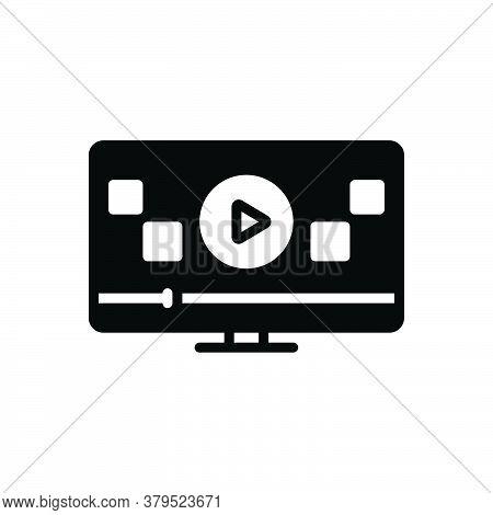 Black Solid Icon For Ad-viedo Ad Viedo Marketing  Advertisement Videoblog Play Online Tutorial