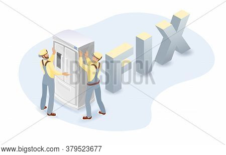 Refrigerator, Workers, Isometric Word Fix. Home Appliance Repairs. Vector.