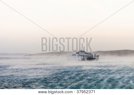 Ferry caught in heavy winds