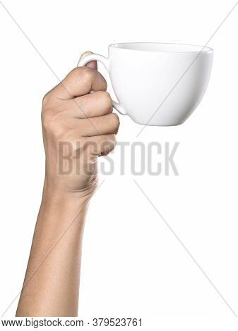 Women Hand Holding A Cup Of Coffee, Isolated On White Background