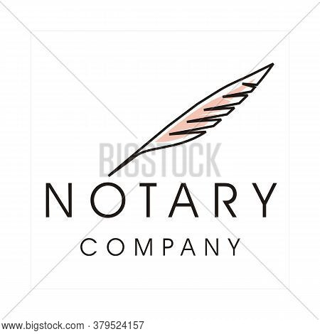 Modern Quill Feather Minimalist Pen Writer For Journalist, Notary, Lawyer, Company Logo Icon Design