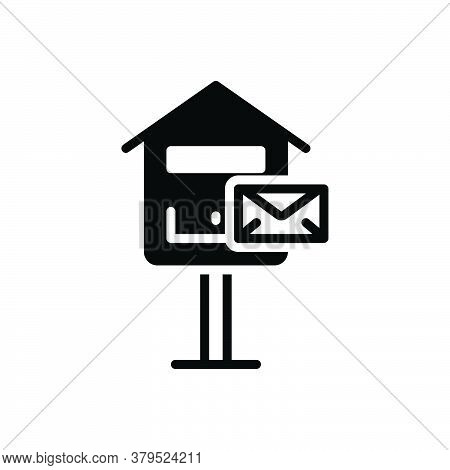 Black Solid Icon For Mail-box Mail Box Pobox Letterbox Communicate  Message Telegram Postage Receive
