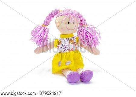 Tender Plush Doll With Pink Braids On White Background.