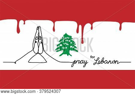 Pray For Lebanon Simple Web Banner, Background With Flag And Map And Pray Gesture . One Continuous L