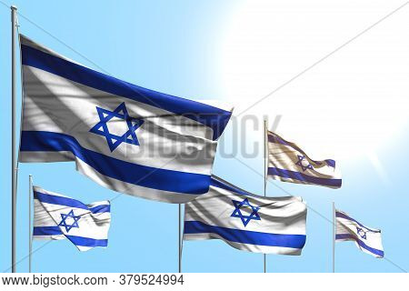 Beautiful National Holiday Flag 3d Illustration  - 5 Flags Of Israel Are Waving On Blue Sky Backgrou