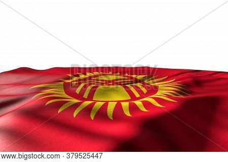 Pretty Any Feast Flag 3d Illustration  - Mockup Photo Of Kyrgyzstan Flag Lie With Perspective View I