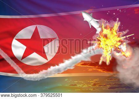 North Korea Intercepted Ballistic Missile, Modern Antirocket Destroys Enemy Missile Concept, Militar