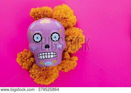 Composition With Typical Mexican Skull And Cempazuchitl Flowers On Bright Pink Background.