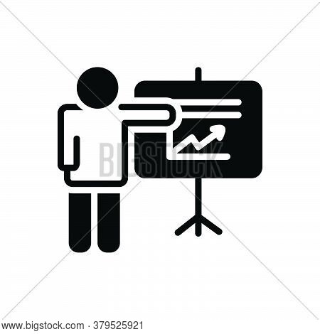 Black Solid Icon For Project Activity Venture Task Chart Presentation Whiteboard Seminar Display