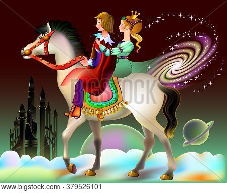 Illustration Of Prince And Princess Riding On Horse In Fantastic Futuristic Environment. Book Cover