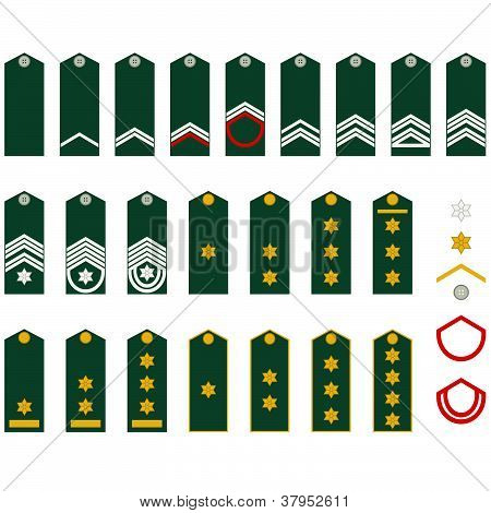 Epaulets, military ranks and insignia. Illustration on white background. poster