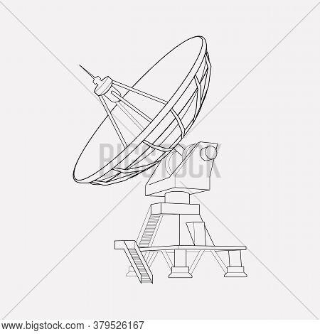 Radio Telescope Icon Line Element. Illustration Of Radio Telescope Icon Line Isolated On Clean Backg