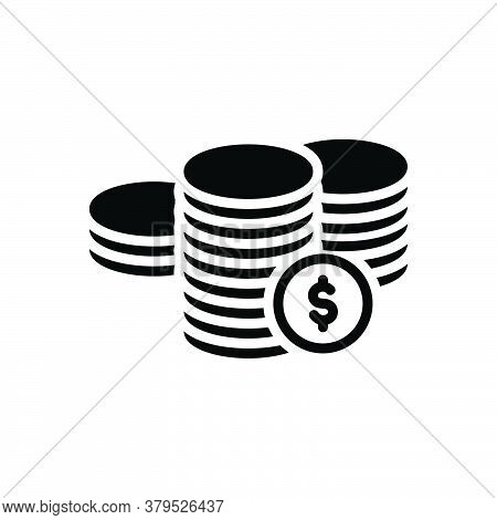 Black Solid Icon For Coins Dollar Legal-tender Currency Finance Chips Money Cash Payment Amount