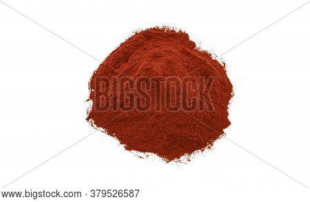 Red Paprika Powder Texture On White Background.