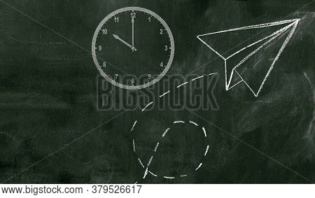 Green Board With Clock And Paper Plane Graphics.