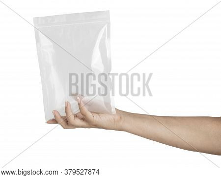 Hands With Foil Package Bag Isolated On White Background With Clipping Path
