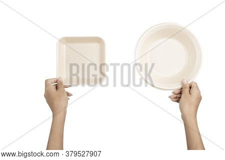 Hand Wit Beige Natural Plant Fiber Disposable Solated On White Background, Saved Clipping Path.