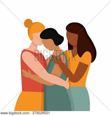 Women With Different Skin Colors Hug. The Concept Of Anti Racism, The Unity Of Different Races, A Fr