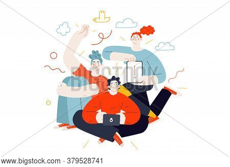 Business Topics - Our Team. Flat Style Modern Outlined Vector Concept Illustration. A Group Of Peopl