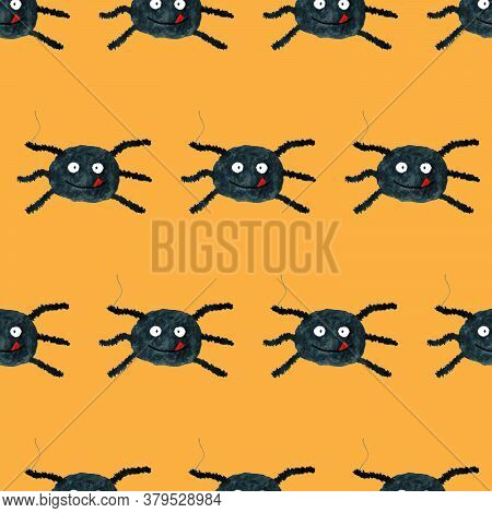 Halloween Seamless Pattern With Funny Cartoon Spider. Endless Texture For Wallpaper, Web Page Backgr