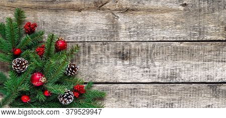 Christmas Table Setting, Menu Composition, Wooden Blue Background, Pine Tree Branches, Spices. Woode