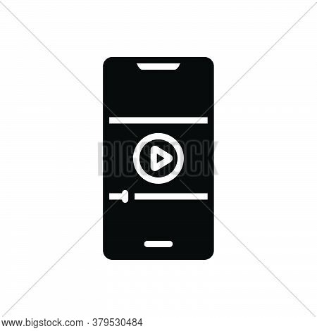 Black Solid Icon For Video-on-mobile-phone Video Mobile Phone Broadcast Recorded Player Display  Str