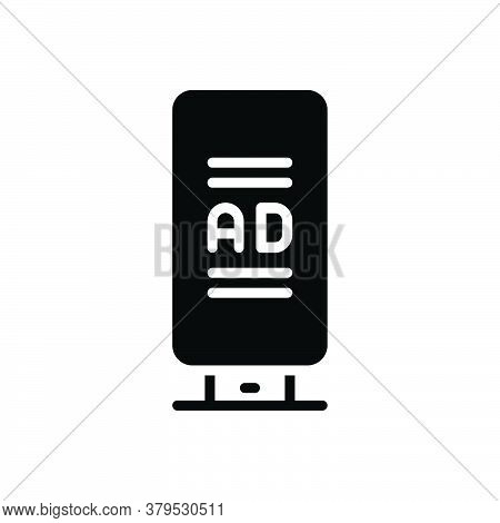 Black Solid Icon For Ad-board Ad Board  Poster Advertisement Banner Sign Billboard Advertising Flyer