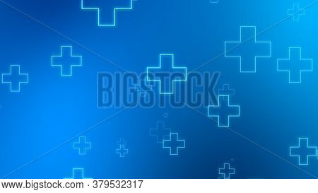 Medical Health Blue Cross Neon Light Shapes Pattern Background. Abstract Healthcare Technology And S
