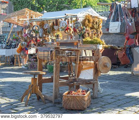 Ancient Weaving Loom Displayed At Naplavka Street Food Market At Prague