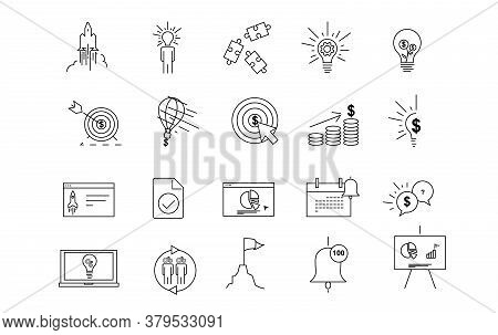 Icon Startup Line Simple Set.launch Project Business Report And Target Dollar. Strategy Marketing, M