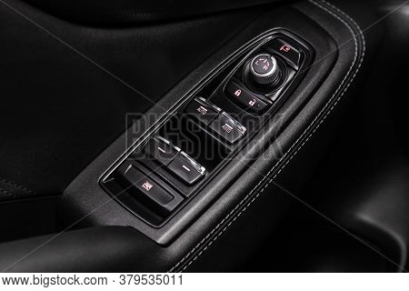 Novosibirsk/ Russia - July 18 2020: Subaru Forester, Close Up Of A Door Control Panel In A New Moder