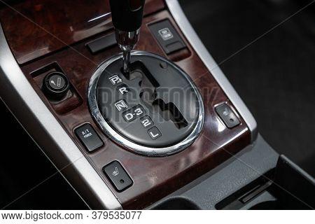 Novosibirsk/ Russia - August 01 2020: Suzuki Grand Vitara, Close Up Of The Manual Gearbox Transmissi