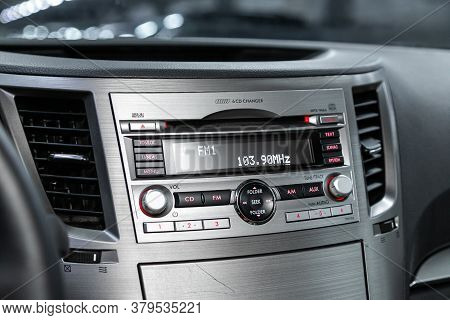 Novosibirsk/ Russia - August 01 2020: Subaru Outback, Auto Interior, Car Stereo Audio System Front P