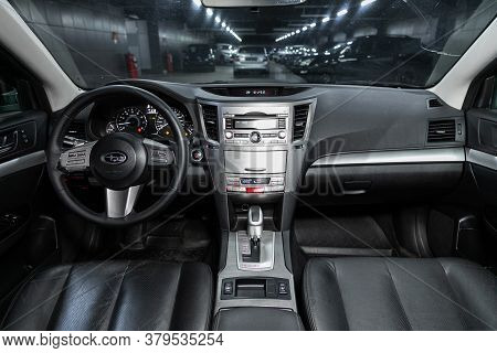 Novosibirsk/ Russia - August 01 2020: Subaru Outback, Close-up Of The Dashboard, Player, Steering Wh