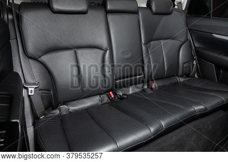 Novosibirsk/ Russia - August 01 2020: Subaru Outback, Rear Seat For Passengers In Black Textile. Com