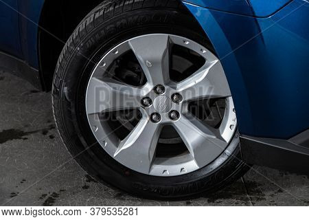 Novosibirsk/ Russia - August 01 2020: Subaru Outback, Close-up Of The Bumper, Alloy Wheel, Car Detai