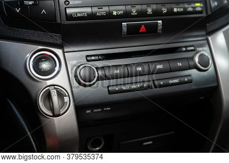 Novosibirsk/ Russia - August 01 2020:toyota Land Cruiser 200, Auto Interior, Car Stereo Audio System