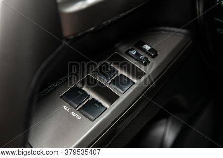 Novosibirsk/ Russia - August 01 2020:toyota Land Cruiser 200, Close Up Of A Door Control Panel In A