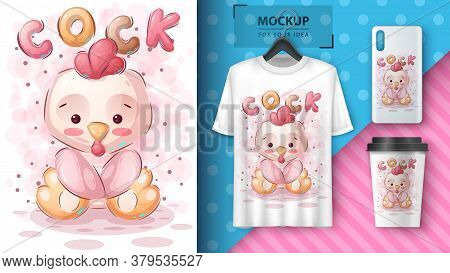 Cute Teddy Cock - Poster And Merchandising. Vector Eps 10