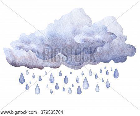 Watercolor Image Of Cumulus Fluffy Clouds Of Grey Blue Color With Falling Rain Drops. Hand Drawn Ill